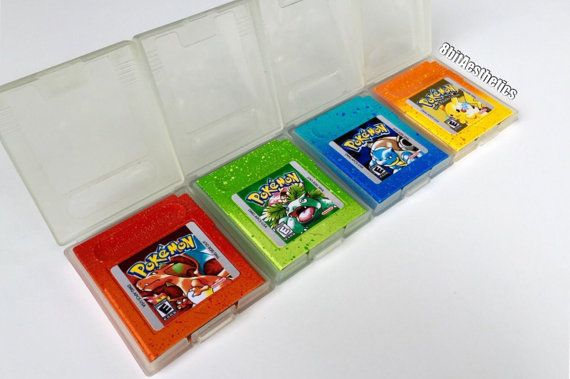 Custom Nintendo Gameboy Pokemon Red Blue Yellow Green Silver Cartridge with New Save Battery by 8bitAesthetics