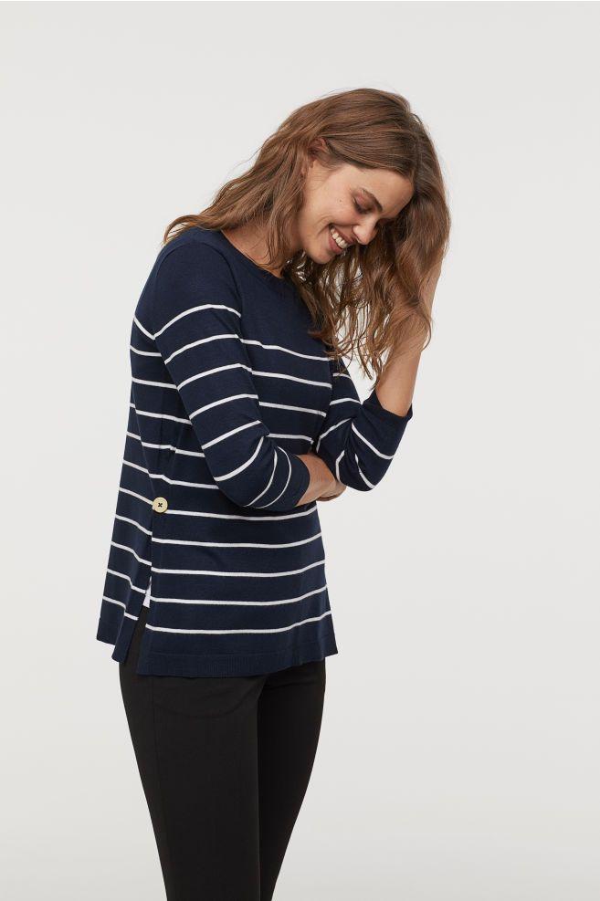 2357cd016 MAMA Sweter dla karmiącej - Ciemnoniebieski Białe paski - ONA