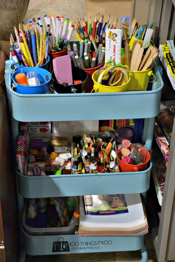 Organizing Kids Crafts  Raskog Cart And Target Pails · Ikea Raskograskog  Cartchildren Artart Cornerlifehacksoffice Suppliescraft Roomsstorage Ideas