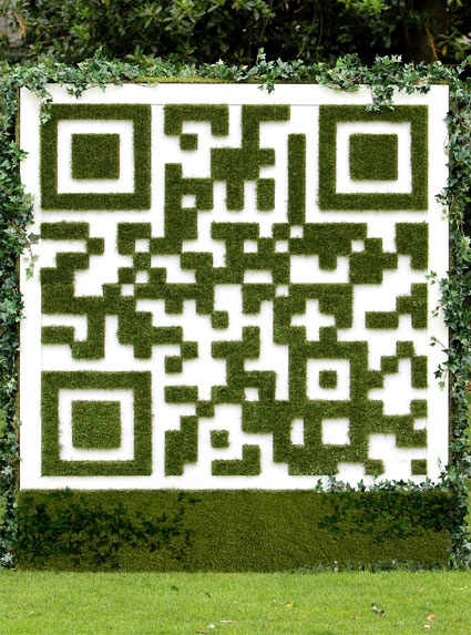 Green ~QR code - Love it! http://www.sanctuarysynthetics.ie/ Synthetic grass cut and shaped into a QR code. Nine Yards Ltd.