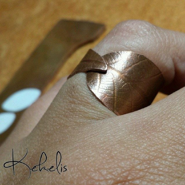#copper #leaf #ring #texture #handmade #jewelry