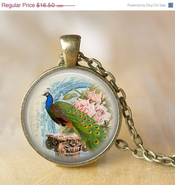 AFTER CHRISTMAS SALE Peacock Pendant Necklace by LiteraryArtPrints  #necklaces #jewerly
