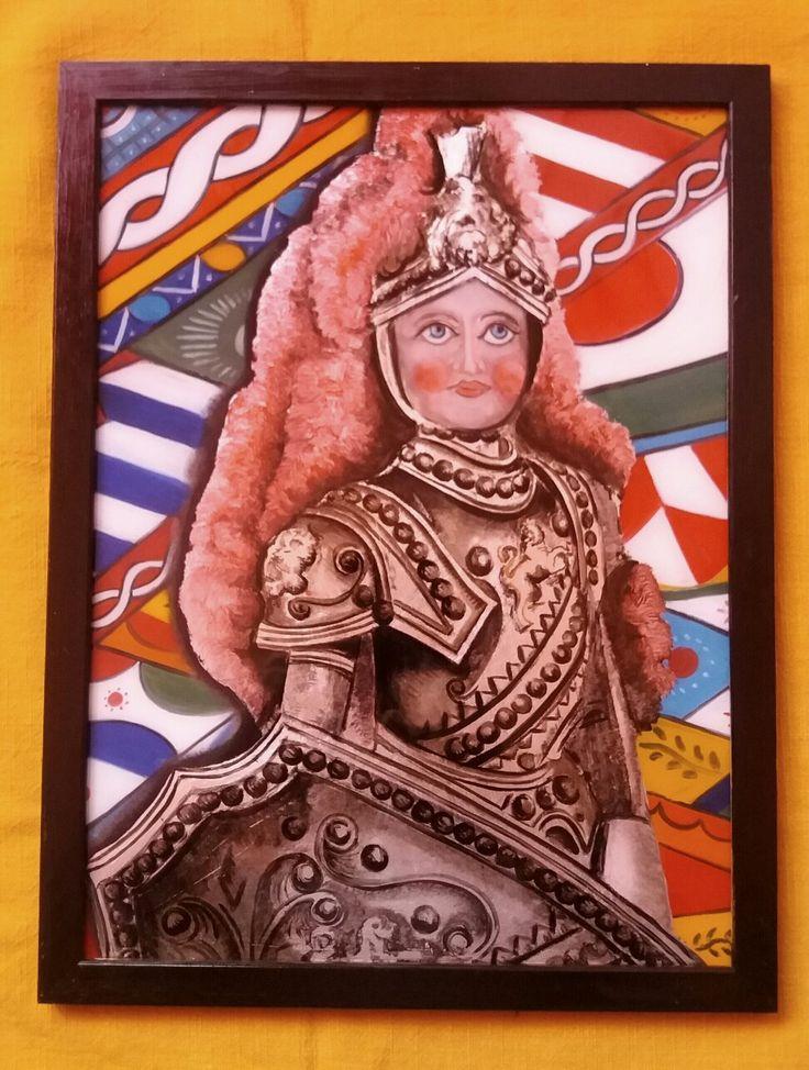 Dipinto su Vetro - Paladino - Rinaldo Realizzato con colori ad olio e foglia d'argento. Cm 40x30 Per info: Pincisanti@hotmail.com