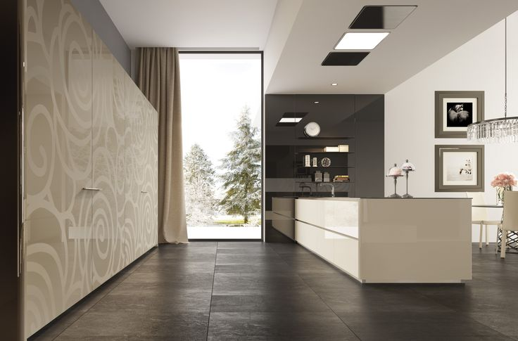 Exclusive design for the lacquered surface of the coplanar wardrobe doors.