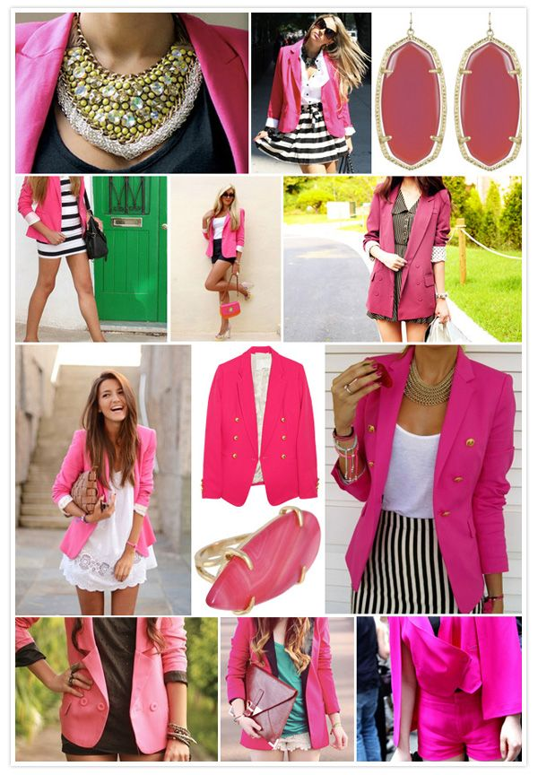 Will always love pink...jackets, rings, bags, blazers, shorts...you name it.