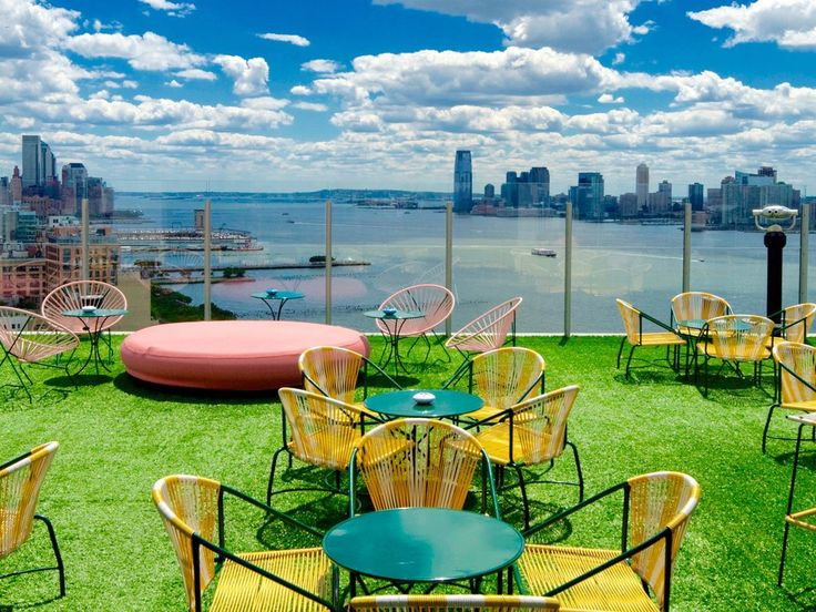 The cool kids love to play, stand, and pose at this sky-high bar that crowns the Standard, High Line in the Meatpacking District. Even better? The wraparound views of the Manhattan skyline and Jersey City are sublime as are the pitcher-sized libations. Arrive at 4 p.m. for a chance at grabbing a coveted chair or couch.