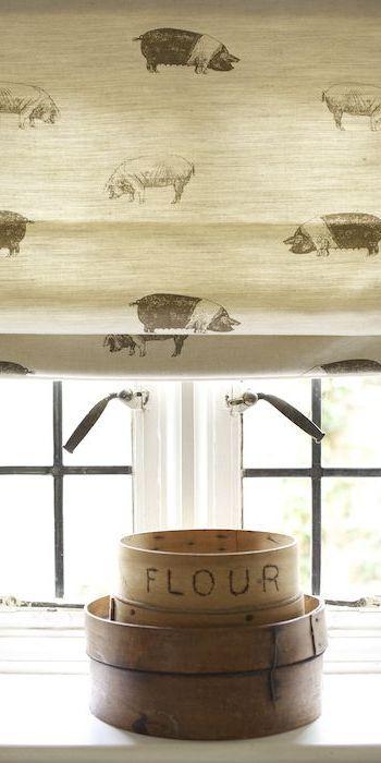 Kitchen blind in Saddleback Pig fabric, Emily Bond