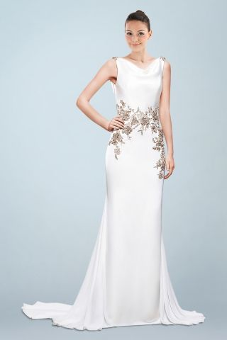 Noble Sheath Satin Wedding Gown with Contrasting and Vivid Floral Appliques and Plunging Back Details