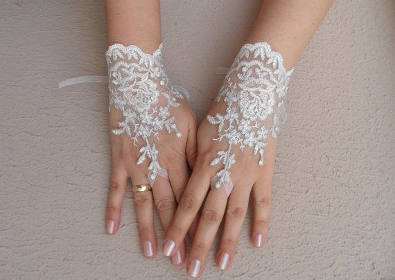 ivory wedding glove, ivory, silver -embroidered lace gloves, Fingerless Gloves, bridal gloves, Free Ship via Etsy