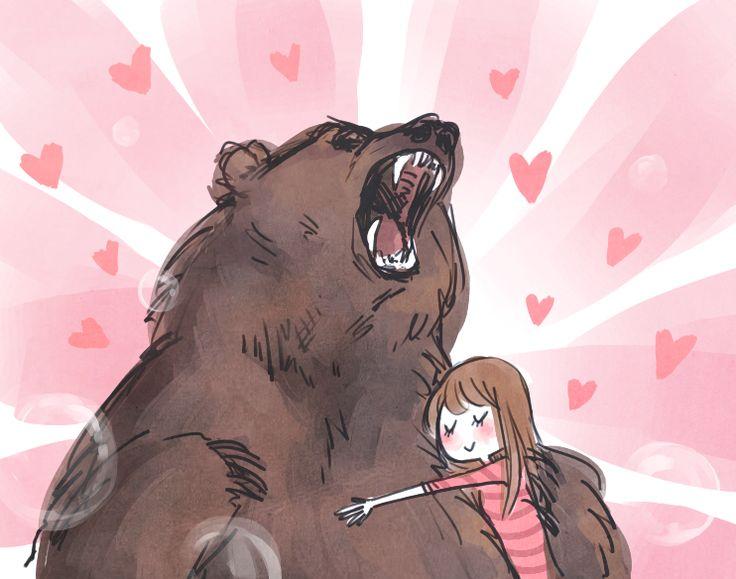 Рисунок девочка обнимает медвежонка