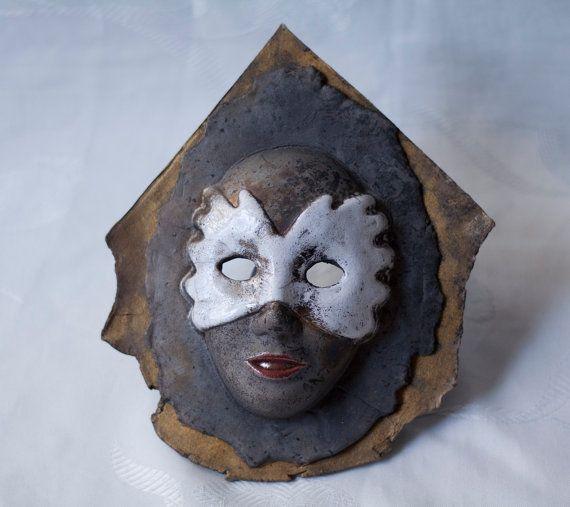 Ceramic venetian mask raku white gold red black by ClayLadyArt