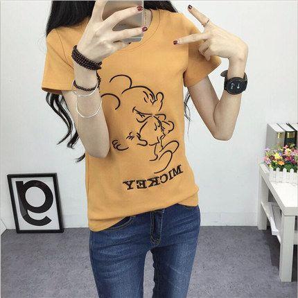 Новый летний мультфильм короткий рукав футболка женский свободно с коротким рукавом платье корейской версии приток диких дна рубашки сострадательных студентов