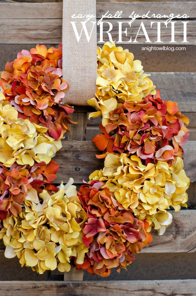 Easy Fall Hydrangea Wreath | anightowlblog.com