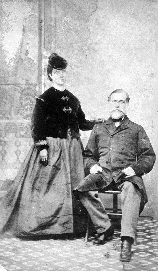 Emily Carr's father encouraged her independence and spirit. At the same time his authoritarianism and sternness led to her early sense of alienation and rebellion. Studio portrait of Carr's parents, Emily Carr (née Saunders) and Richard Carr, c. 1876.