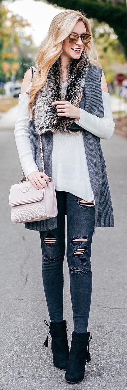 #winter #fashion /  Grey Scarf   White Knit   Ripped Skinny Jeans   Black Booties