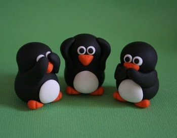 A polymer clay of Penguins