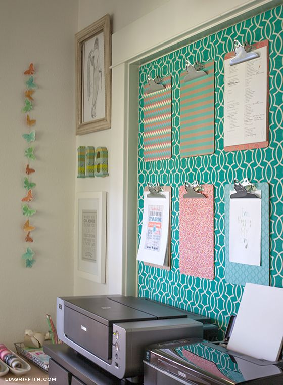 DIY A Fabric Covered Wall For Clipboard Organizing...Lia Griffith.
