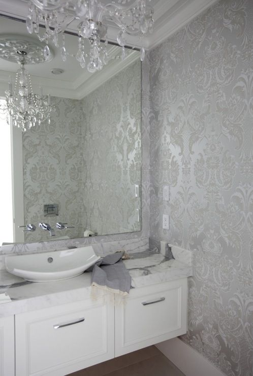 DRAMA MIRROR ON DRAMA PAPER Stunning powder room with white breadboard lower wall and golden metallic damask wallpapered upper wall. Description from pinterest.com. I searched for this on bing.com/images