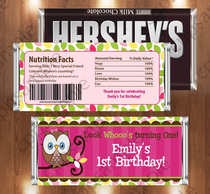 Look Whoos Turning One Printable Candy Bar by CreativePartyPixels, $3.50