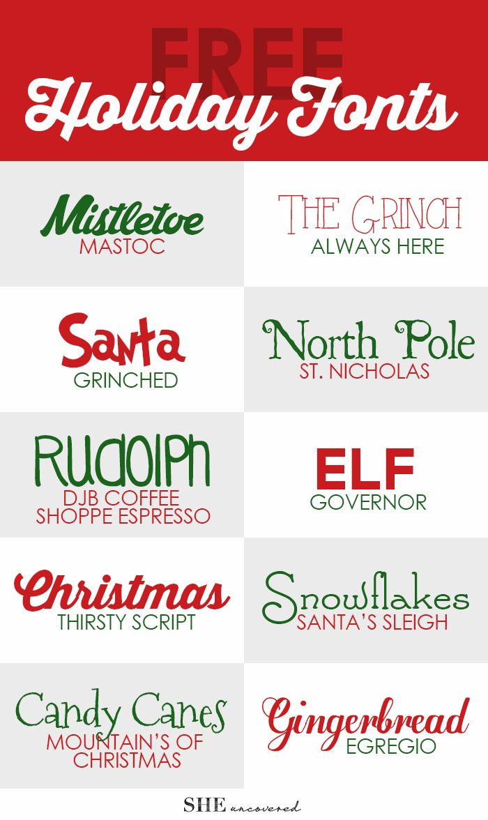 Free Holiday Fonts • She Uncovered  ~~ {10 free fonts w/ links}