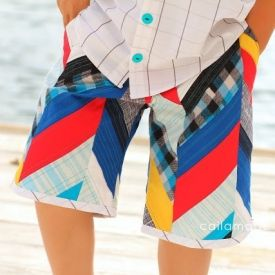 Make your own herringbone boy shorts by piecing scraps of fabric together! It's quilted, yet cool, surfer boy style.