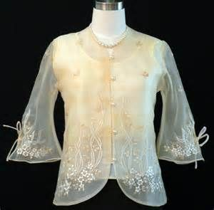 lady's barong (embroidered formal blouse from the Philippines) ... more on Barong Tagalog: http://en.wikipedia.org/wiki/Barong_Tagalog
