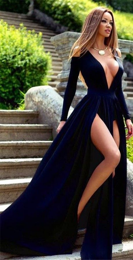 Sexy Prom Dress, Prom Dress with Long Sleeves, Prom Dress with Split Front, Royal Blue Prom Dress Sexy Long Sleeve Deep V-Neck 2017 Prom Dress Slit Party Gowns