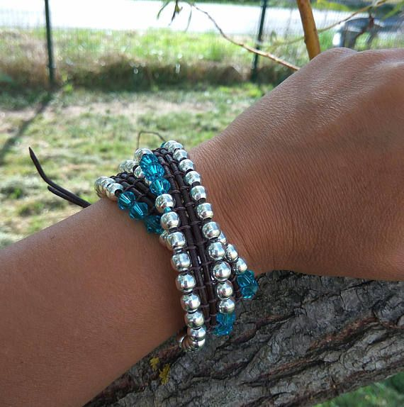 Zamak beaded leather wrap bracelet for woman Blue crystal