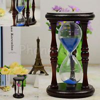 Retro Wooden Frame Glass Sand Sandglass Hourglass Timer Clock Time Decor Gift