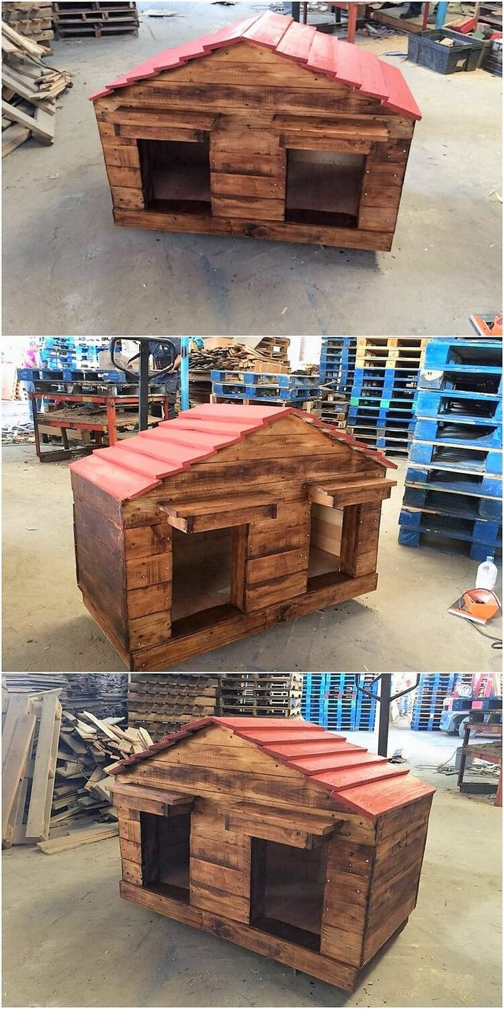 Pet houses always look interesting when they are showcase out with the brilliant impact of the wood pallet art work in it. Check out this image and view out the conceptual designing of the dog house that is done in an awesome way. It is moderate in size structure.