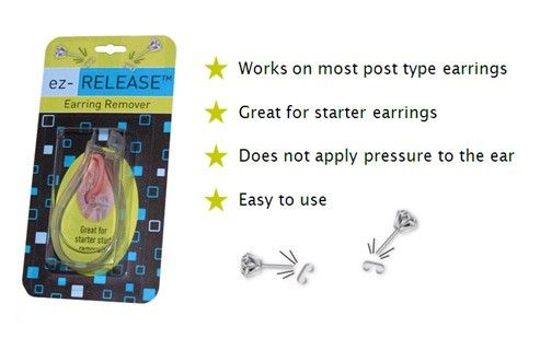 The+ez-Release+Earring+Remover+for+Regular+Ear+Stud+Earrings+-+ez-Release+Earring+Remover+for+Regular+Ear+Stud+Earrings Do+you+have+a+stuck+starter+earring+or+a+difficult+to+remove+earring+backing?+Are+you+tired+of+the+crying+battles+when+you+need+to+remove+your+child's+earrings?+If+so,+the+ez-Release+earring+remover+is+for+you.+The+ez-Release+has+an+ergonomic+design,+allowing+the+user+to+handle+it+with+one+hand.+It+works+for+both+butterfly+and+loop+style+earring+backs.+The+ez-Release+is+d