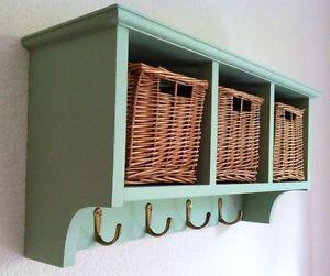 Delightful Coat Rack With Wicker Baskets Storage Chic Country Shabby Hall Wall Shelf  Green
