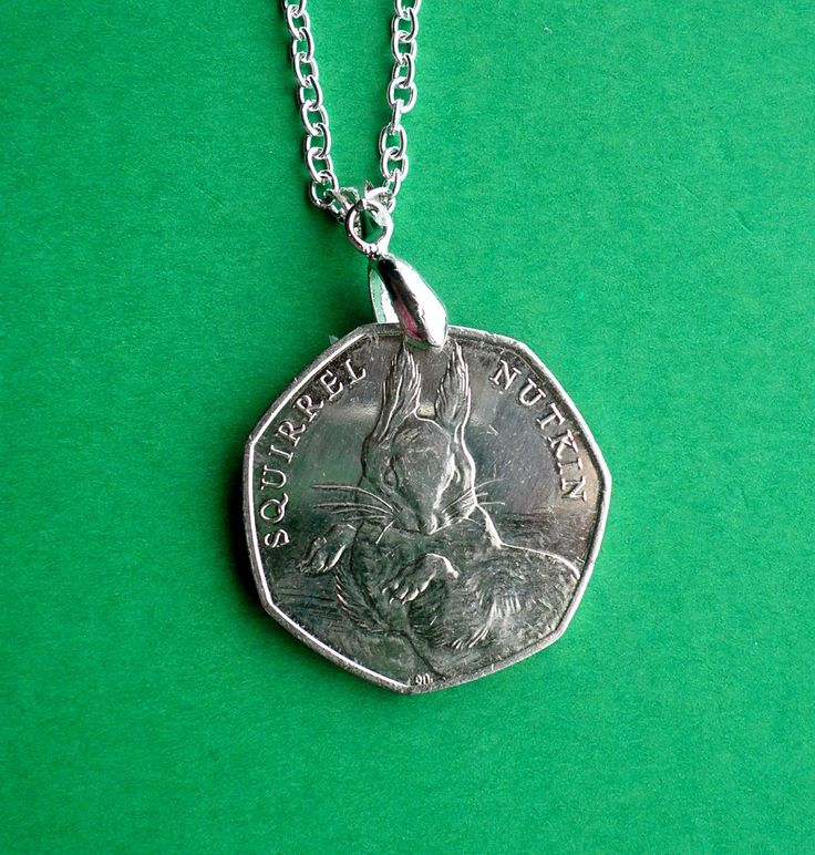 Novelty necklace, Beatrix Potter's Squirrel Nutkin commemorative coin from 2016 on a Sterling Silver chain by VintageIrishDresser on Etsy