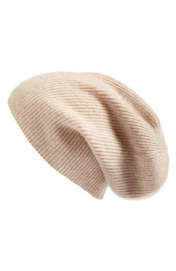Free shipping and returns on Halogen® Slouchy Cashmere Beanie at  Nordstrom.com. A ribbed knit furthers the casual elegance of a versatile 6a60caad8d2