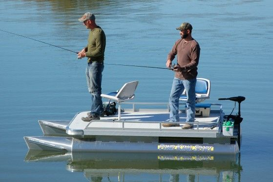 All welded aluminum. Ultra stable. 12ft fishing pontoon boat with room for two, plus all the gear you need to slay 'em at the lake. Order yours today!