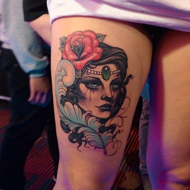 Gypsy girl tattoo by Jose Contreras #Tattoo #NoRegrets #Girl