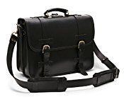 Front Strap Black Leather Briefcase 18″ – Convertible to a Backpack