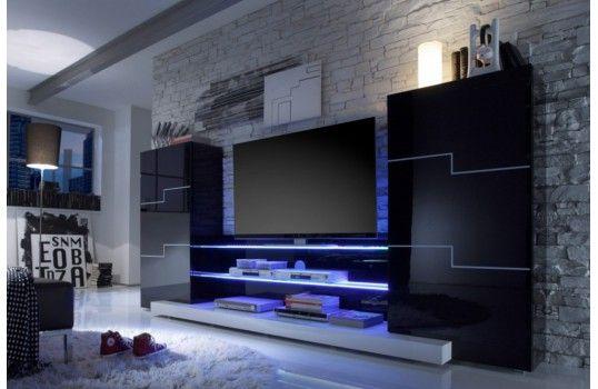 Meuble tv mural led changez de couleur pour une for Meuble tv mural miraz 03