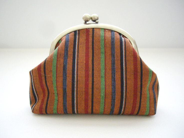 Multi color stripe gamaguchi, Stripe kimono fabric, Kimono purse, Orange Cosmetic bag, Kimono Toiletry bag, make up bag, Gift for mom by WAYOKO on Etsy
