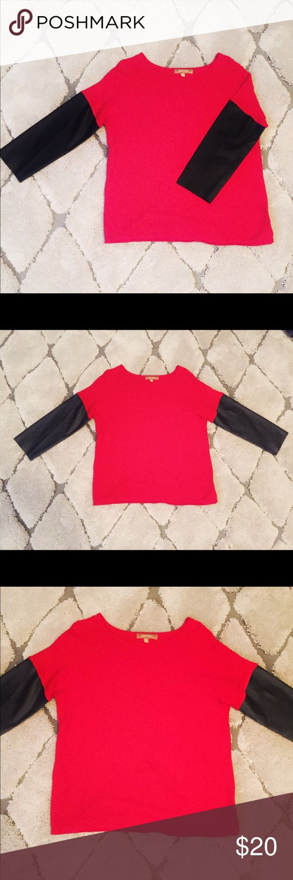 Ellen Tracy sweater with faux leather sleeves Red Ellen Tracy sweater with faux leather sleeves. Size medium. Excellent used condition. I bought this from another posher, even though it was a little big, because I loved it so much! However, the size medium is just a bit too large on me and I can't make it work. I'm reselling it for exactly what I paid. Ellen Tracy Sweaters