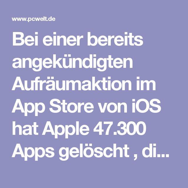 Bei einer bereits angekündigten Aufräumaktion im App Store von iOS hat Apple 47.300 Apps gelöscht , die entweder veraltet waren oder schlicht nicht mehr funktionierten. Bei 28 Prozent der gelöschten Apps handelt es sich um Spiele, danach folgen Unterhaltungsprogramme und Bücher mit jeweils knapp 9 Prozent. Weitere 7 bzw. 6 Prozent entfallen auf Apps aus den Bereichen Bildung und Lifestyle.  Gelöscht wurden außerdem Anwendungen für iOS-Geräte, die laut Apple nicht den Richtlinien folgen oder…