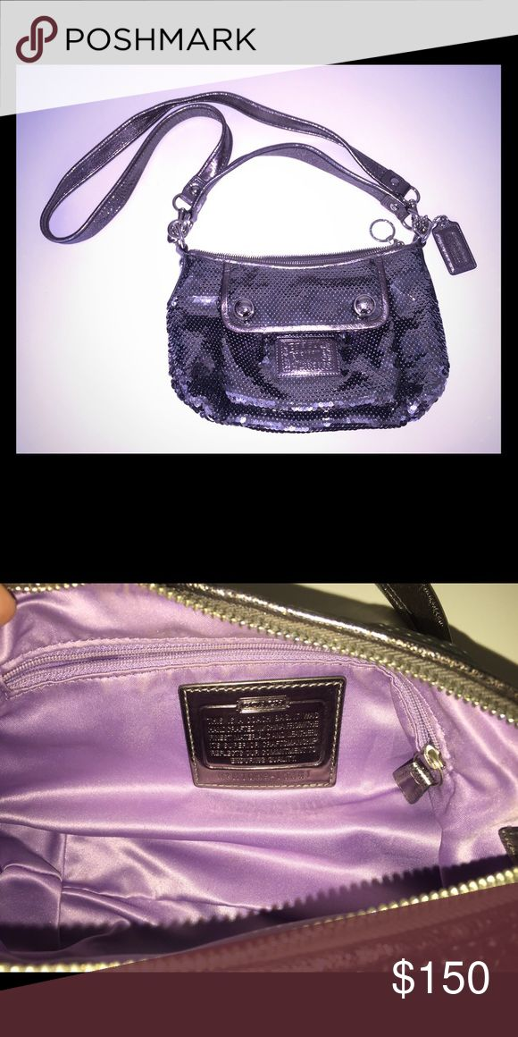 Coach Purse Absolutely incredible sequined Coach purse! Never used. Poppy edition. Gorgeous purple interior. Front pocket. Beautiful statement piece. Perfect for a night out on the town! Pet free, smoke free home. Coach Bags