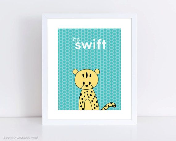 Cheetah Childrens Art Print by SunnyDoveStudio cute #kawaii #duck #kids #children #baby #nursery #decor #etsy #handmade