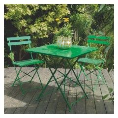 PARC 4 seat green metal folding garden table and chairs set