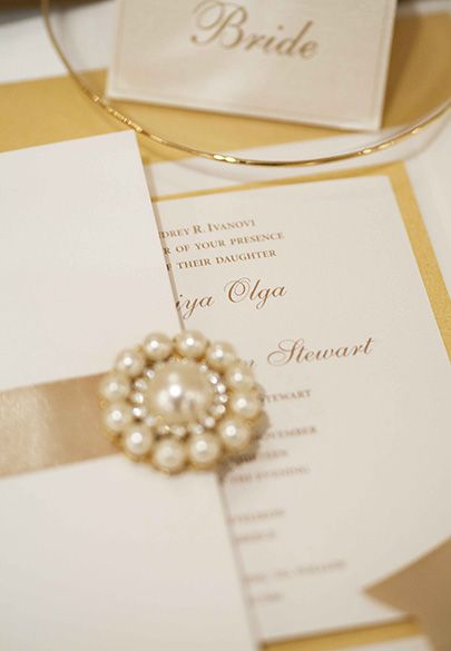 Share the details to your wedding with timeless elegance - Custom pearl adorned invitations by Mitheo Events