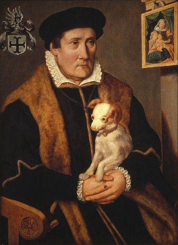 an anonymous 16th Century Portrait of a Man with a Dog (recently returned by Dutch government to Jewish family from whom it was stolen by Nazis)