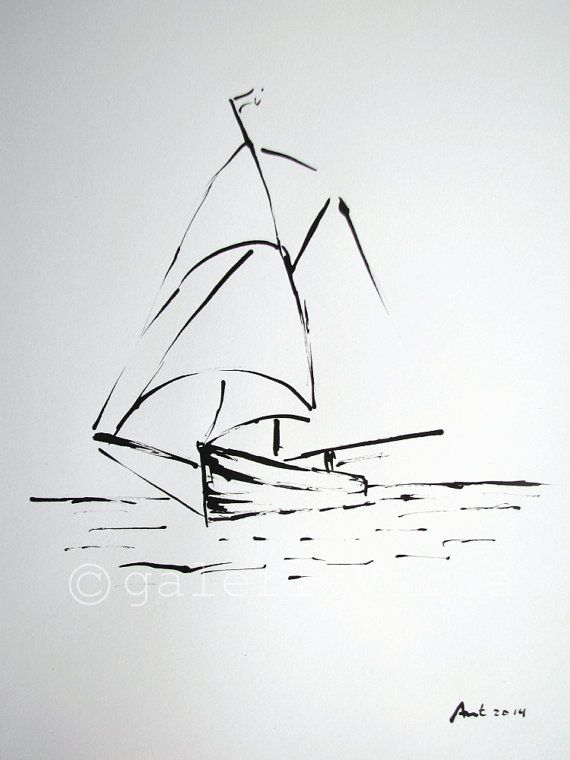 Original ink drawing  sailboat  europeanstreetteam by galeriaVarte, $120.00