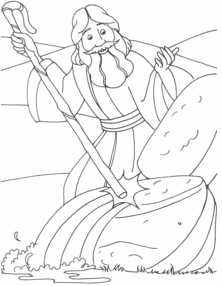 Free Coloring Pages Of Moses And The Rock