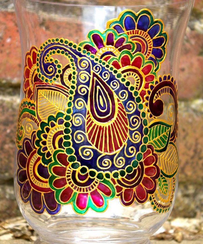 Cam Boyama Ornekleri Desenler Vazolar
