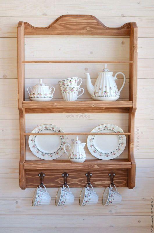 полка для  чашек тарелок посуды, деревянная полка для кухни, полка из дерева для кухни, мебель из дерева, подарок для хозяйки на кухню, полка для хранения на кухне, удобная уютная полка для хозяйки